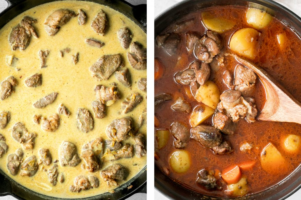 Hearty coconut lamb curry is an easy one pot meal that is packed with flavour. Make it on the stovetop or in the slow cooker and freeze leftovers for later. | aheadofthyme.com