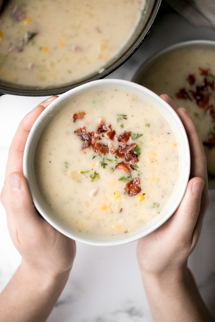 Creamy ham and potato soup is hearty, filling, and so flavourful. This warm and cozy one pot meal is the easiest weeknight meal to make in just 25 minutes. | aheadofthyme.com