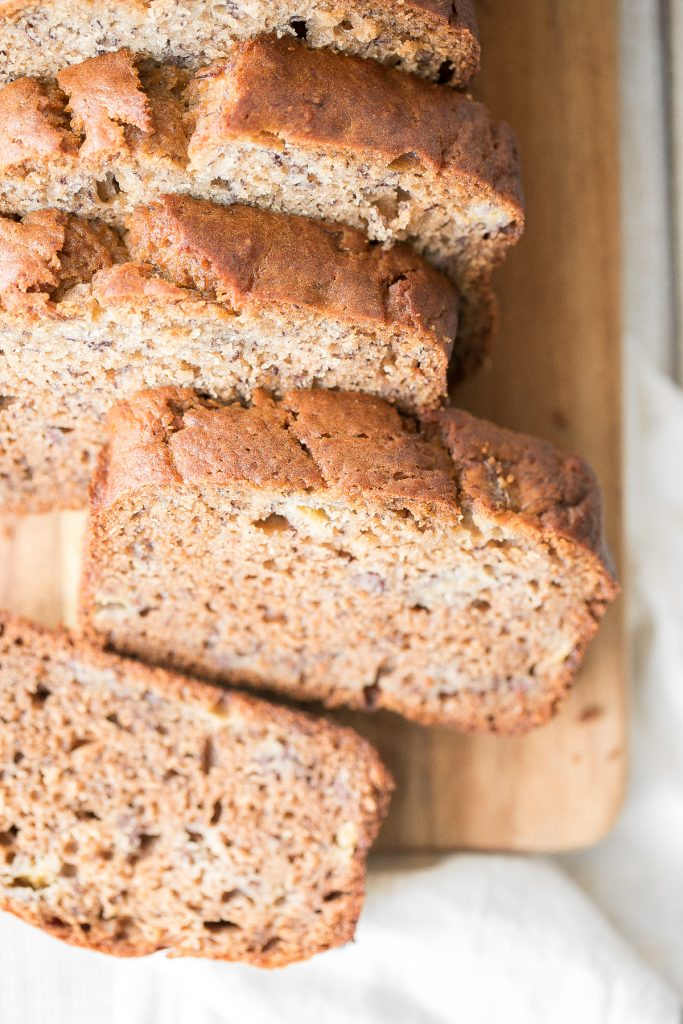 Healthy banana bread is delicious and moist and contains no refined sugar or butter. Quick and easy to make with 10 minutes prep and few pantry staples. | aheadofthyme.com