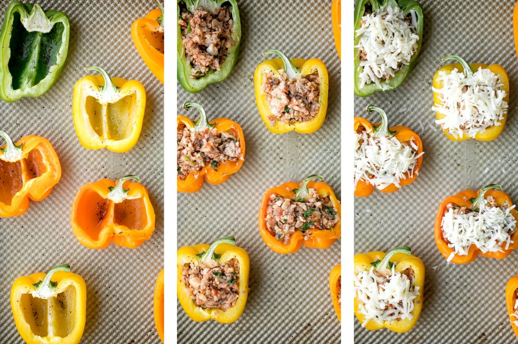 Leftover turkey stuffed peppers are a nutritious, wholesome and healthy dinner that you can throw together easily and quickly. A total crowd-pleaser. | aheadofthyme.com