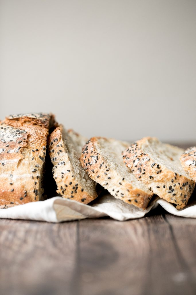 No knead sesame bread is chewy, springy and airy with the perfect crunchy crust coated with sesame seeds. Easy to make with 10 minutes prep and no kneading. | aheadofthyme.com