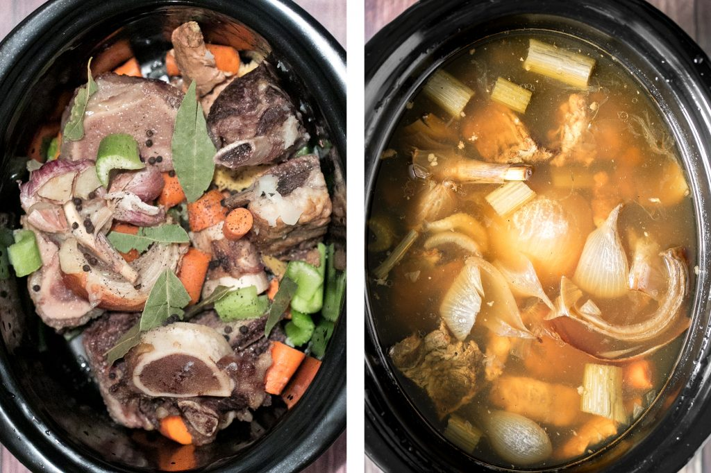 Nutritious wholesome slow cooker bone broth is healing, promotes physical wellness and health, and is easy to make at home. Add it to soups, stews and more. | aheadofthyme.com