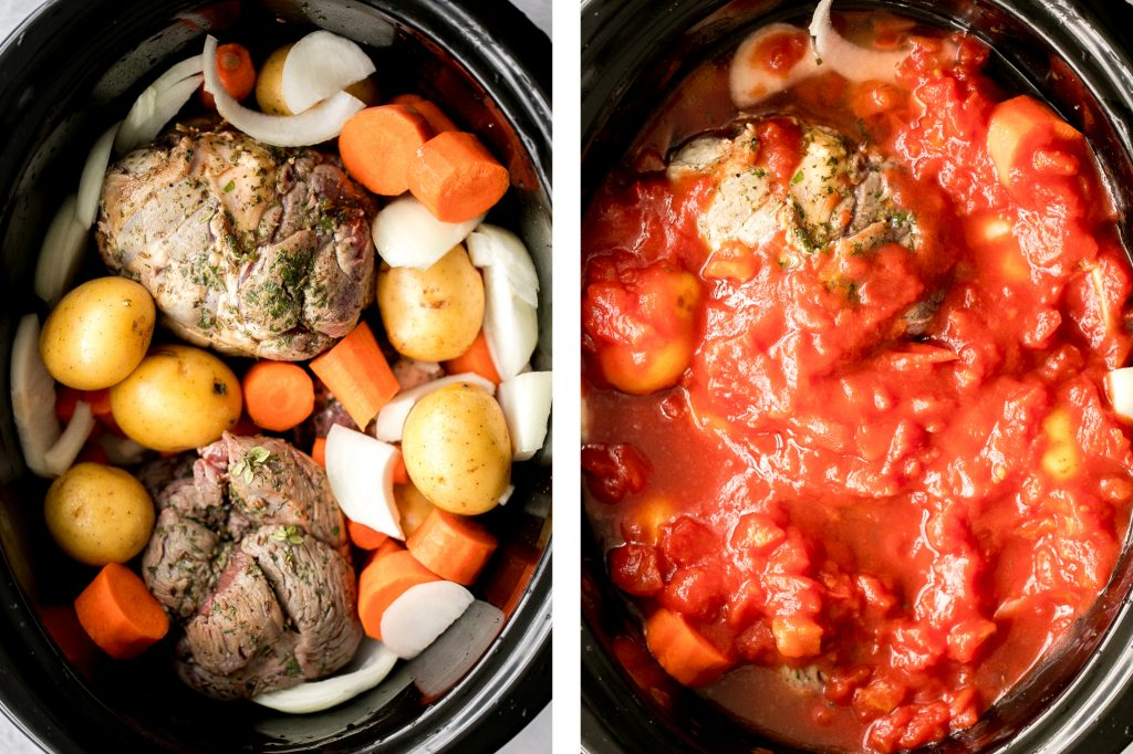 Easy Mediterranean slow cooker leg of lamb with vegetables is succulent, tender, juicy, and flavourful, seasoned with fresh herbs. Prep the crockpot in just 15 minutes. | aheadofthyme.com