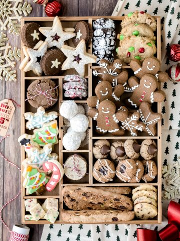 Complete how-to guide to make the best holiday cookie box with the top Christmas holiday cookies including recipes and tips. It's the best Christmas gift.   aheadofthyme.com