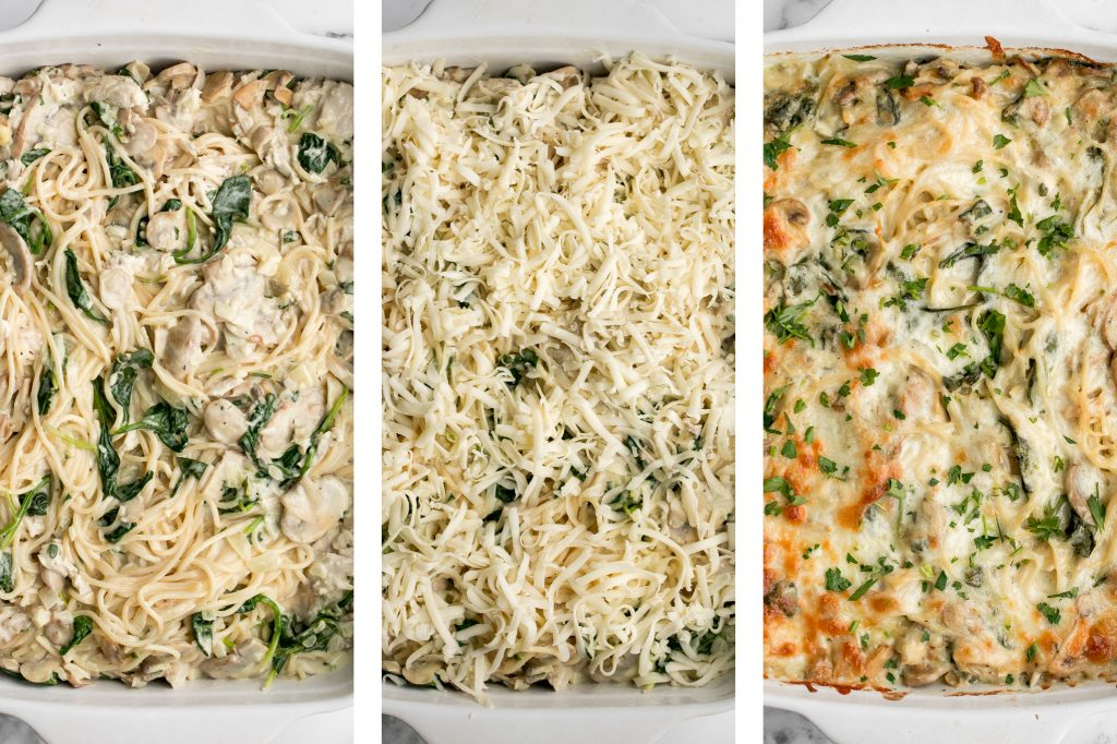 Creamy leftover turkey tetrazzini with spinach is a simple, easy and delicious pasta recipe that is comforting, creamy and cheesy. It's a family favourite. | aheadofthyme.com