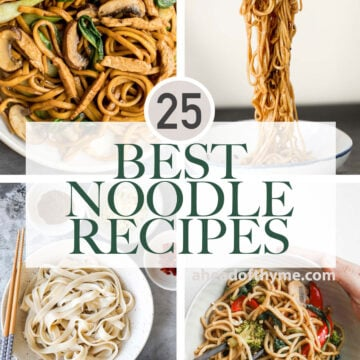 Roundup of the most popular 25 best noodle recipes including stir-fried noodles, tossed noodles, cold noodle salads, and noodle soups. | aheadofthyme.com