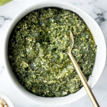 Fresh homemade basil pesto is vibrant, colourful, flavourful and extremely easy to make at home in just 5 minutes with a few ingredients. | aheadofthyme.com