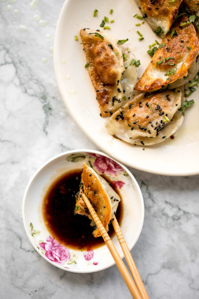 Homemade Chinese beef potstickers (dumplings) are crispy on the outside and tender and juicy inside packed with a delicious beef filling. | aheadofthyme.com