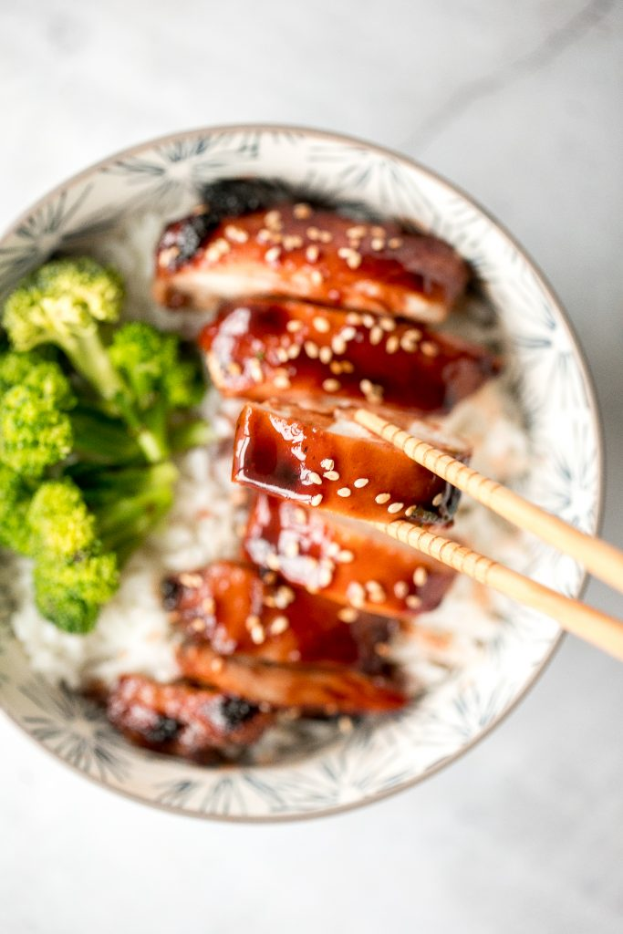 Sweet sticky and savoury Char Siu (Chinese BBQ) chicken is a delicious dinner packed with classic Asian flavours with incredible flavour. | aheadofthyme.com