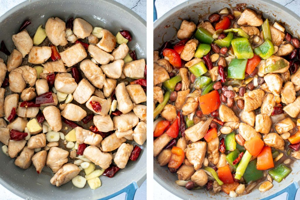 Kung Pao chicken is a Chinese chicken dish that is stir-fried with crisp vegetables and tossed in a delicious Asian sauce packed with flavour. | aheadofthyme.com