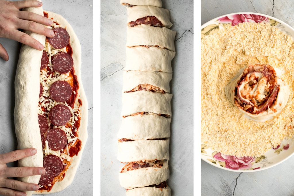 Easy pepperoni pizza rolls are crispy on the bottom, tender and chewy inside, packed with pepperoni and cheese, and baked until bubbly. | aheadofthyme.com