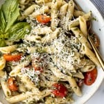 Quick and easy pesto penne pasta is a simple and light Italian pasta dish made with just five ingredients in under 15 minutes. The easiest dinner. | aheadofthyme.com