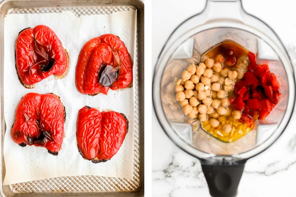 Smooth creamy roasted red pepper hummus is a delicious, flavourful, vegan + gluten-free dip. This healthy appetizer is easy to make with a few ingredients. | aheadofthyme.com