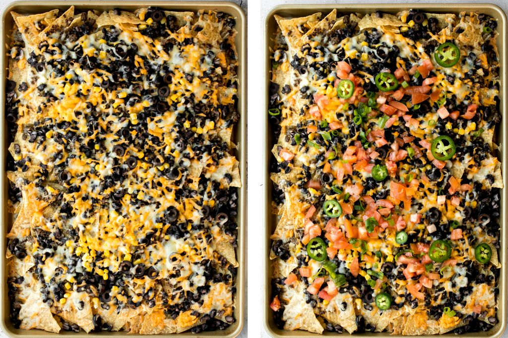 Oven-baked loaded sheet pan nachos are a crowd pleaser for an easy weeknight dinner or an addicting appetizer to serve on game day. | aheadofthyme.com