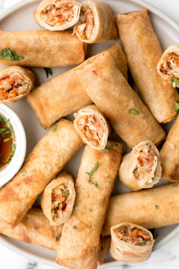 Better than takeout, shrimp egg rolls are a delicious, flavourful and easy appetizer to make. They can be deep fried, baked or air fried. | aheadofthyme.com