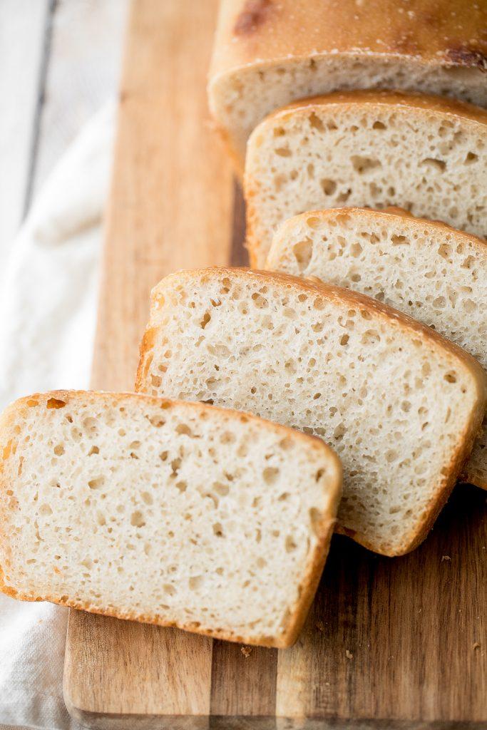 Sourdough sandwich bread is chewy with the perfect air holes inside, and has a crispy crust with a delicious signature sourdough taste. | aheadofthyme.com