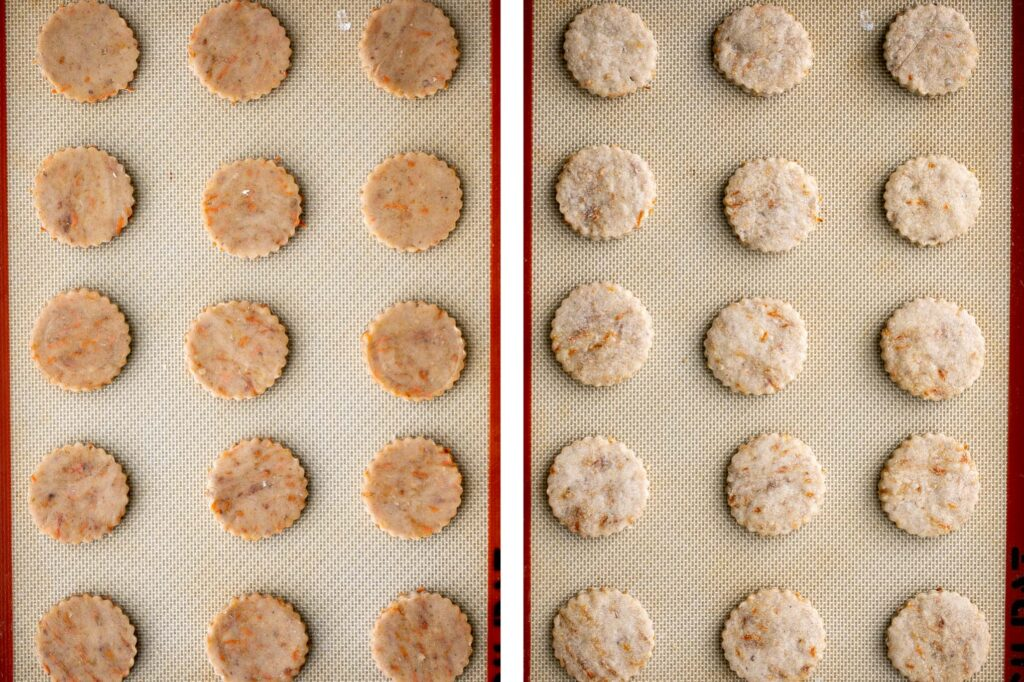 Carrot cake shortbread cookies are sweet and buttery, packed with carrots and walnuts, and spiced like your favourite carrot cake. A total treat. | aheadofthyme.com
