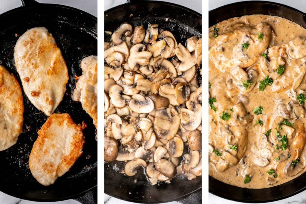 Chicken marsala in creamy mushroom sauce is a quick and easy 30-minute chicken dinner that is pure comfort food goals. A total crowd favourite. | aheadofthyme.com