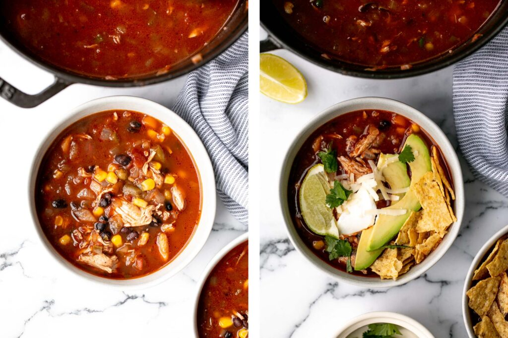 Hearty chicken tortilla soup is a delicious, wholesome and filling soup that you can make in about 30 minutes, packed with classic Mexican flavours.   aheadofthyme.com