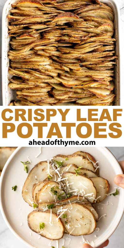 Crispy leaf potatoes are a delicious potato side dish made with layers of buttery, sliced potatoes that crisp up when baked. The perfect side dish. | aheadofthyme.com