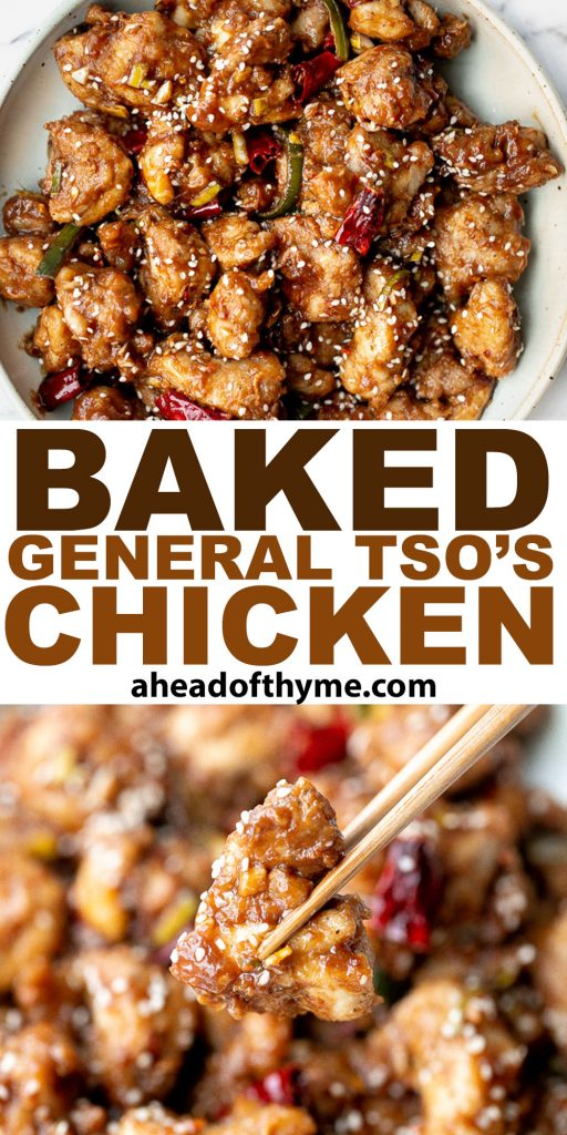 Baked General Tso's Chicken is a saucy, savoury, sweet, spicy Chinese-American takeout favourite made healthier with baked chicken, not fried. | aheadofthyme.com