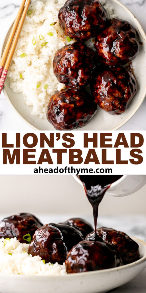 Lion's Head Chinese Meatballs are tender and juicy homemade pork meatballs packed with Asian seasonings and tossed in a sweet and sticky sauce. | aheadofthyme.com