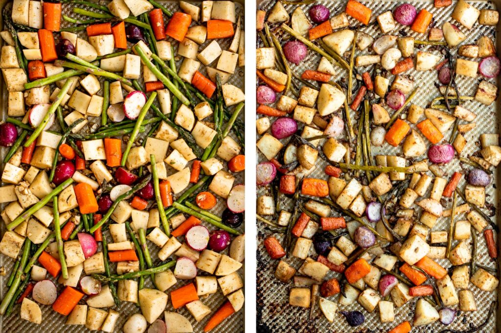 Roasted spring vegetables are an easy sheet pan side dish packed with all our favourite veggies of the season. Plus, it's so easy to prep and make. | aheadofthyme.com