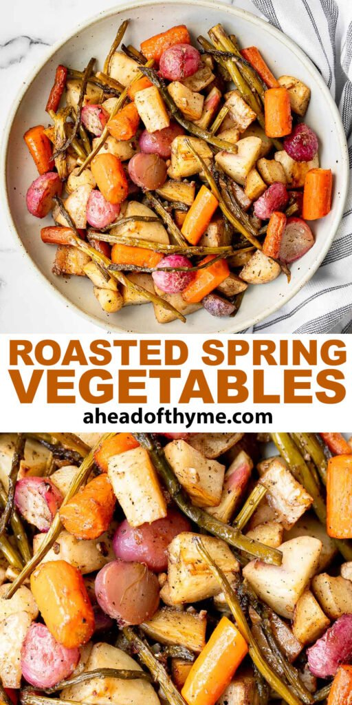 Roasted spring vegetables are an easy sheet pan side dish packed with all our favourite veggies of the season. Plus, it's so easy to prep and make.   aheadofthyme.com