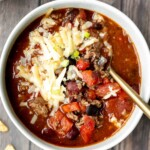 Hearty slow cooker beef chili is an easy, comforting, low-maintenance dinner in fall and winter months. It's a family favourite crockpot chili. | aheadofthyme.com