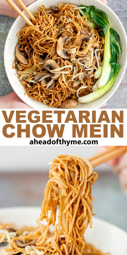 Better than takeout, quick easy stir-fried vegetarian chow mein is packed with vegetables and coated in a delicious savoury sauce. Make it in 15 minutes. | aheadofthyme.com