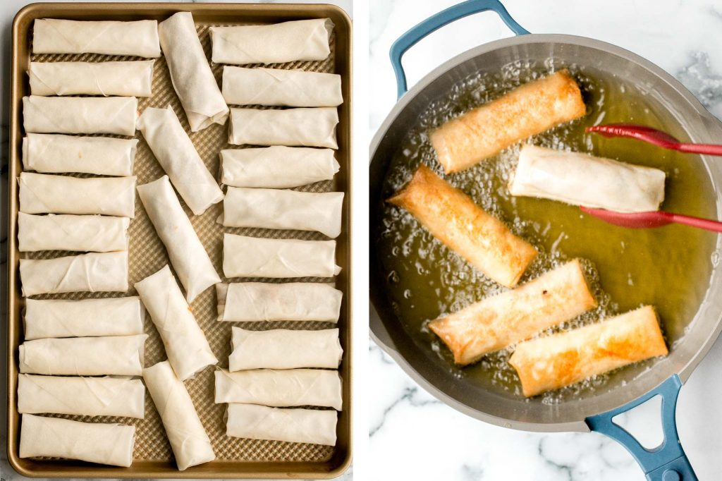 Vegetarian lumpia recipe are delicious, crispy spring rolls packed with a flavourful savoury filling. They can be fried, baked or air fried. | aheadofthyme.com