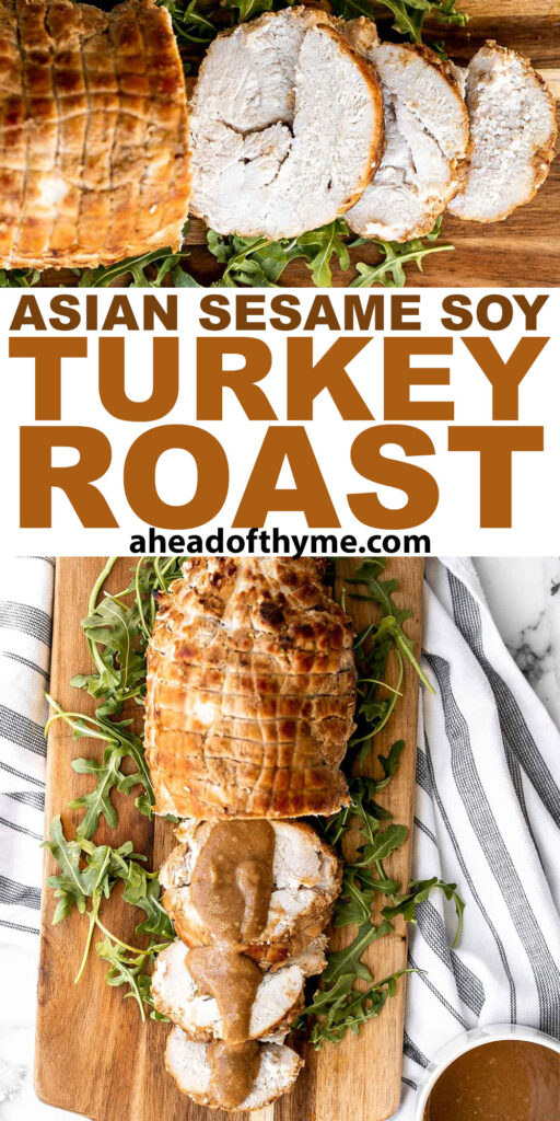 Tender juicy Asian sesame soy turkey roast is a creative take on a holiday classic, packed with sweet, salty, and savoury umami flavours in every bite. | aheadofthyme.com