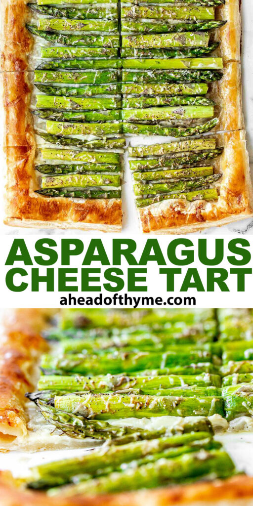 Asparagus tart with Gruyère cheese, a balsamic glaze, and flaky puff pastry, is a flavourful and delicious addition to brunch this spring season. | aheadofthyme.com