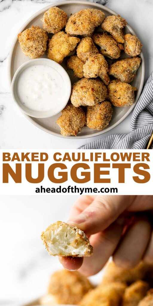 Healthy baked cauliflower nuggets are a vegetarian alternative to chicken nuggets. With parmesan panko breading, these bites are baked until crispy.   aheadofthyme.com