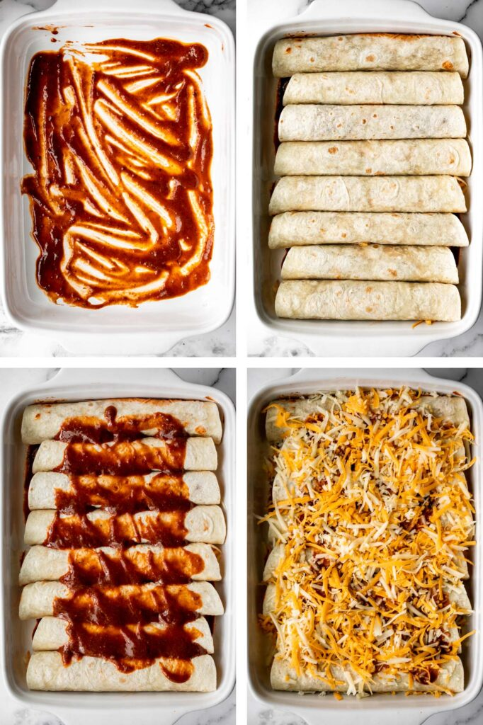Easy baked chicken enchiladas brings the taste of authentic Mexican food into your kitchen -- saucy, spicy, and savoury. Perfect for a Mexican fiesta. | aheadofthyme.com