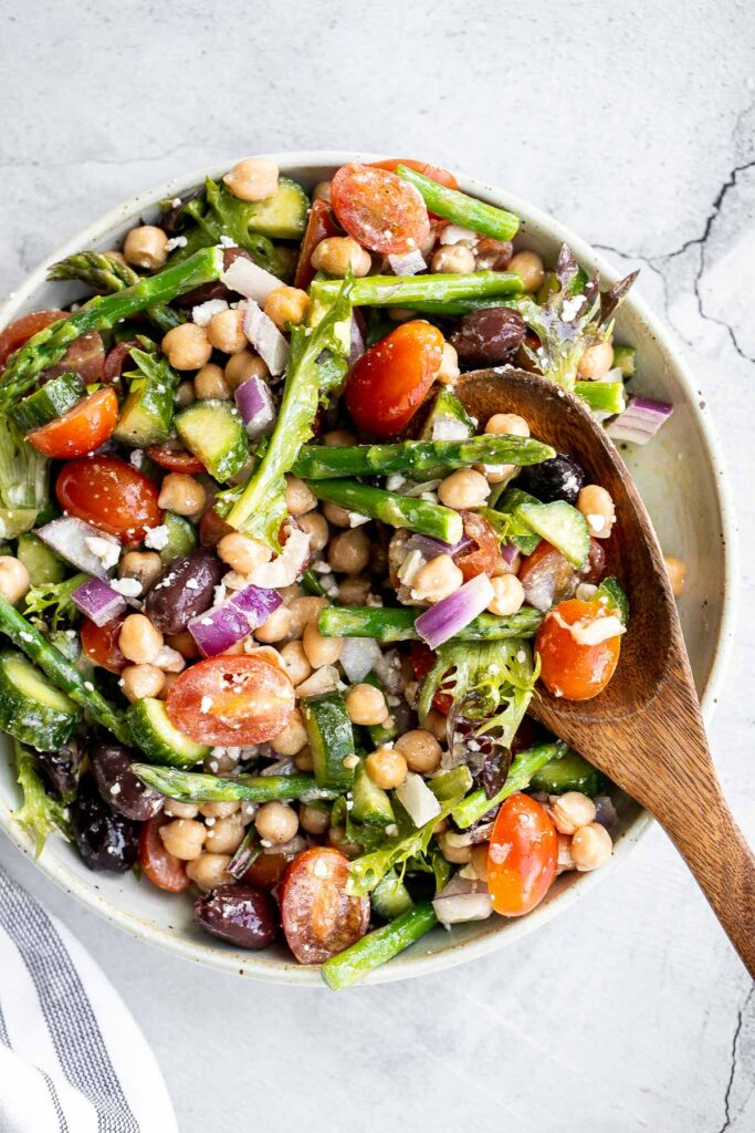 Chopped asparagus salad with lemon vinaigrette is the easiest and best spring salad ever - colourful, vibrant, flavourful, light, and crunchy. | aheadofthyme.com