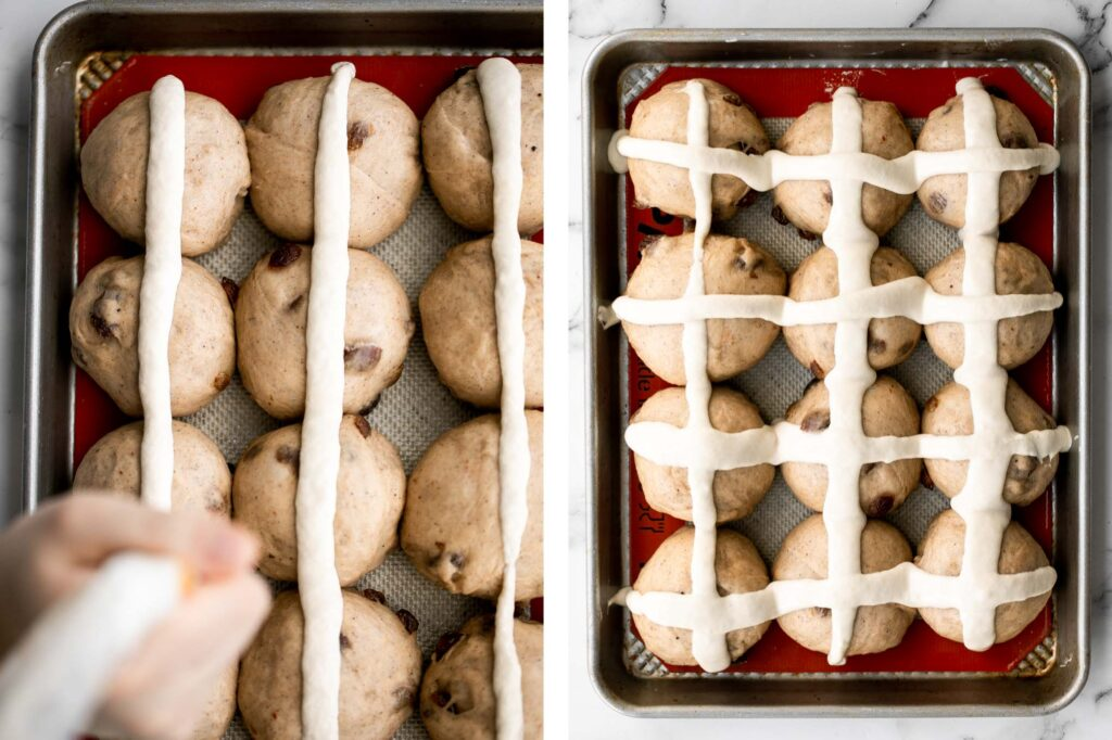 Hot cross buns is a timeless classic Easter bread made with raisins, cinnamon, and a honey glaze. They are perfect for breakfast, a snack or dessert. | aheadofthyme.com