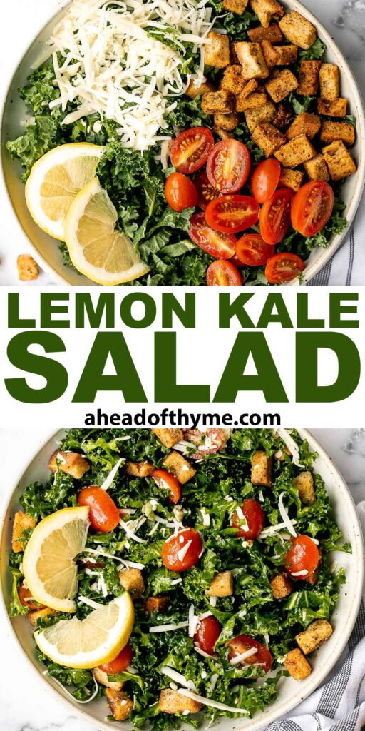 Lemon kale salad is a simple, flavorful, and healthy meal that's thrown together in just minutes with fresh ingredients. The perfect quick lunch or dinner. | aheadofthyme.com