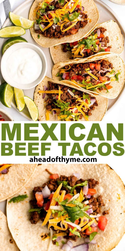 Ground beef tacos are delicious, authentic, and so easy to make. They're savory, spicy, creamy, and fresh. The perfect recipe for a Mexican fiesta. | aheadofthyme.com