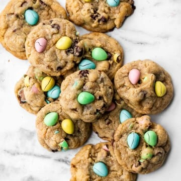 Mini egg Easter cookies are the perfect chocolate chip cookie -- crispy on the outside, and soft and chewy on the inside. Make in under 20 minutes. | aheadofthyme.com