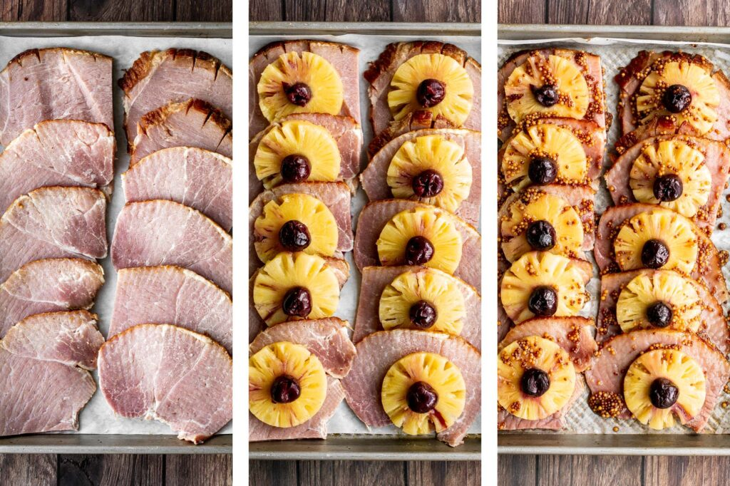 Sweet and savoury pineapple glazed ham slices are perfect for a holiday dinner. With a caramelized glaze, this ham is dressed to impress.   aheadofthyme.com