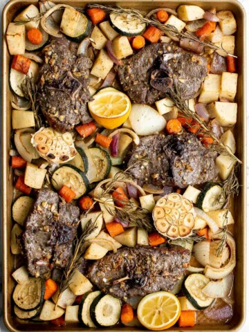 Sheet pan lamb chops with vegetables are healthy and delicious, easy to make, and easier to clean up. Perfect for busy weeknights or a holiday dinner.   aheadofthyme.com