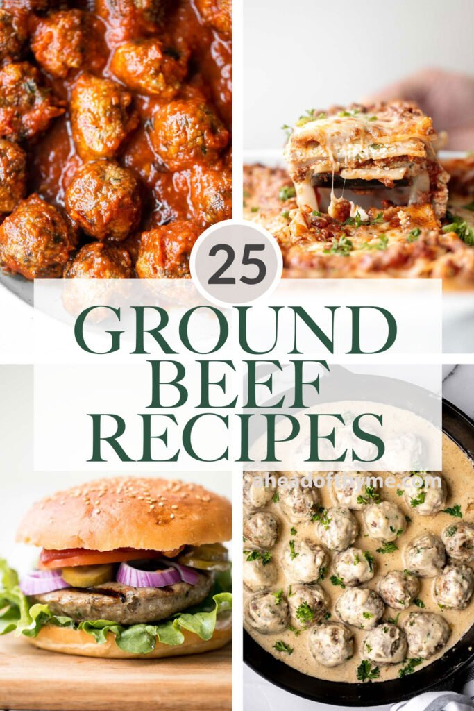 Browse through 25 best and most popular ground beef recipes for dinner including meatballs, juicy hamburgers, meaty pastas, hearty soups, and more! | aheadofthyme.com