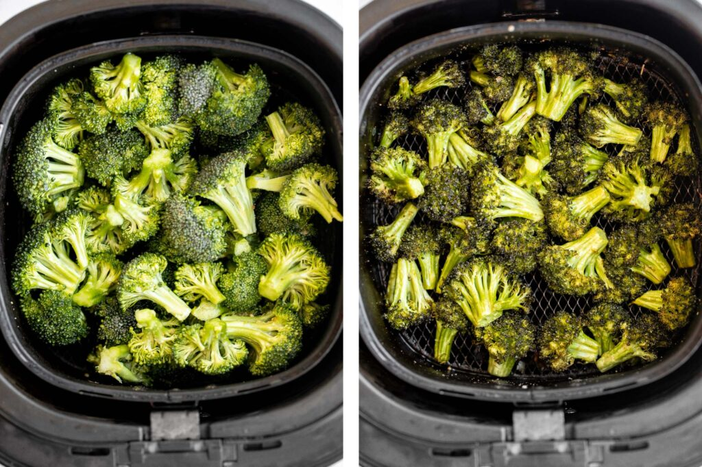 Quick and easy air fryer broccoli is a healthy side dish that takes just six minutes to cook in the air fryer. It's crispy, delicious, and flavorful. | aheadofthyme.com