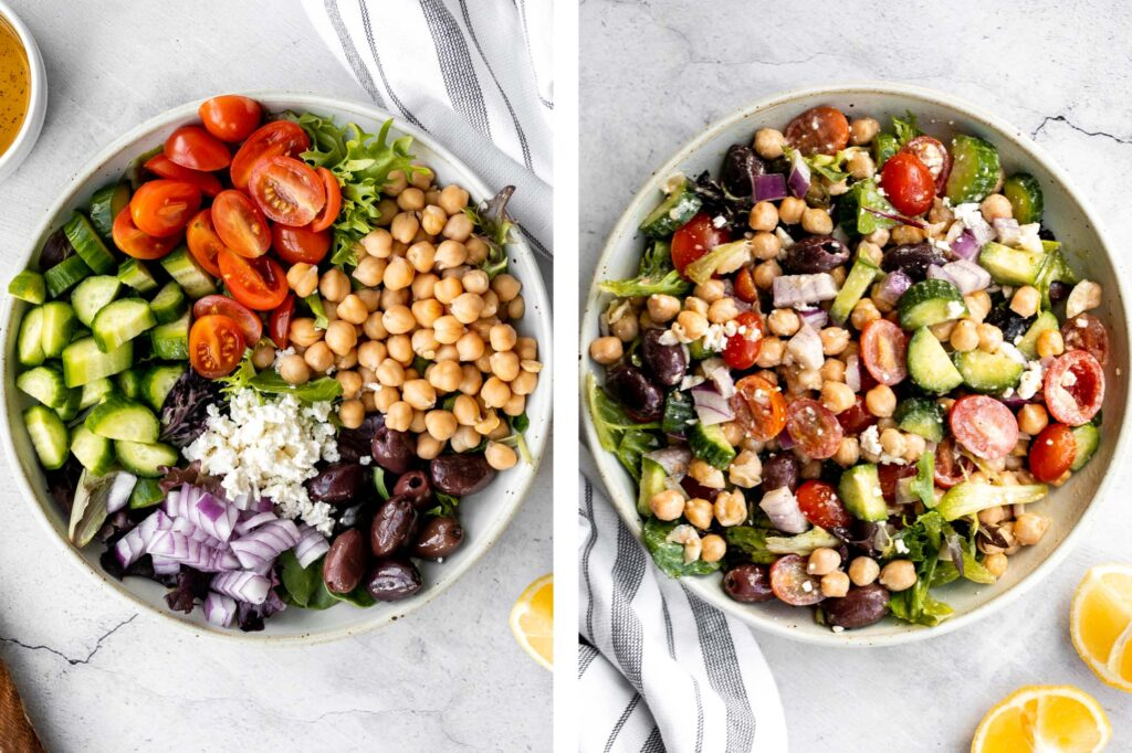 Chickpea Greek salad is a fresh, healthy, vibrant, and colorful salad, packed with traditional Mediterranean ingredients, superfoods, and nutrients. | aheadofthyme.com