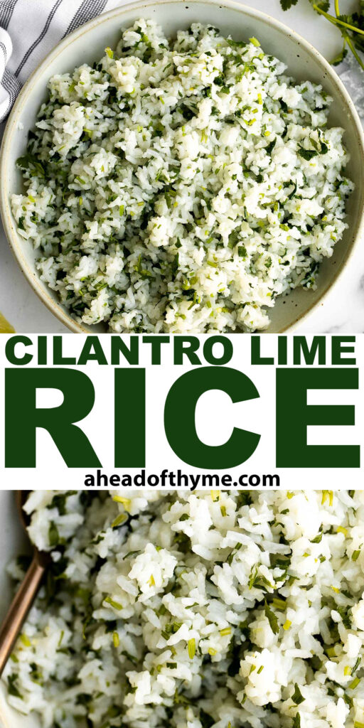 Cilantro lime rice a is fresh, bright and vibrant side dish that will add extra flavour to any meal you serve it with. It's a quick, easy, one pot recipe.   aheadofthyme.com