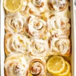 Soft and fluffy lemon sweet rolls are filled with a lemon vanilla sugar and topped with homemade lemon cream cheese icing. They're sweet, citrusy, and tart. | aheadofthyme.com