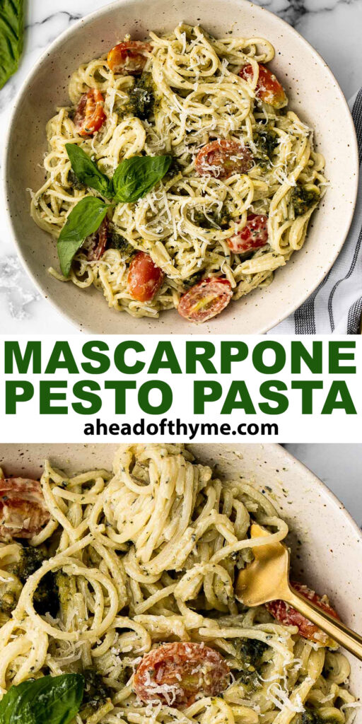 Quick and easy mascarpone pesto pasta is the tastiest creamy pasta dish you'll ever make in under 15 minutes. It's the best weeknight dinner. | aheadofthyme.com
