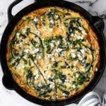 Spring vegetable frittata is a delicious breakfast or served at any time of the day. It's a one-pan meal that starts on the stove and moves to the oven. | aheadofthyme.com