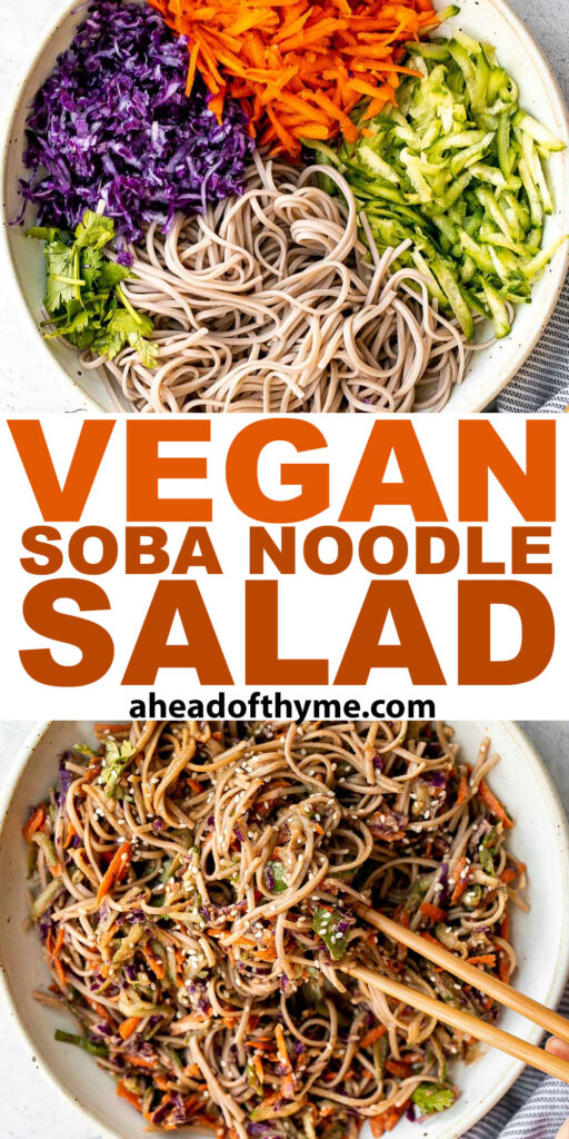 There's nothing better on a hot day than a cold and refreshing vegan soba noodle salad, tossed with fresh vegetables and a delicious saucy dressing. | aheadofthyme.com